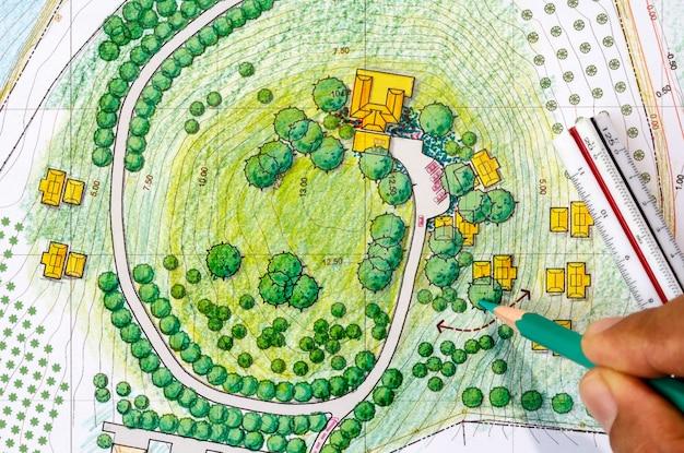 リゾートのランドスケープデザインの青写真。