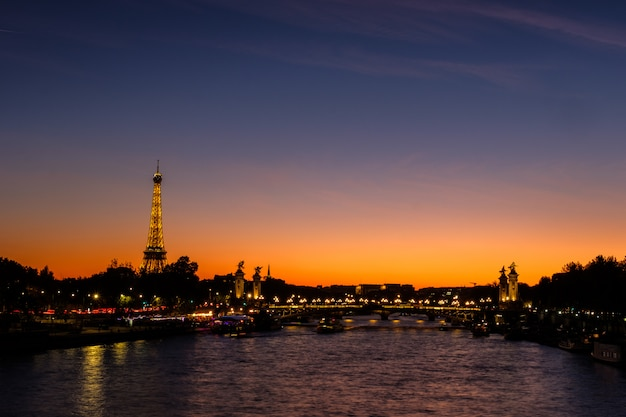 Landscape of eiffel tower at golden hour