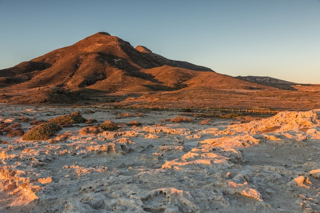 Landscape in the escullos. natural park cabo de gata. spain.