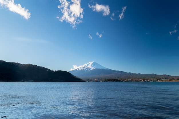 Landscape of fuji mountain at lake kawaguchiko, japan