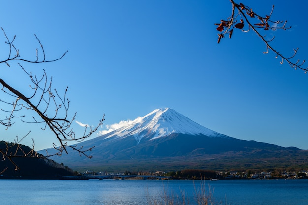 Landscape of fuji mountain at lake kawaguchiko