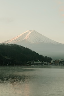Landscape of fuji mountain view and kawaguchiko lake in morning sunrise, winter seasons at yamanachi, japan.