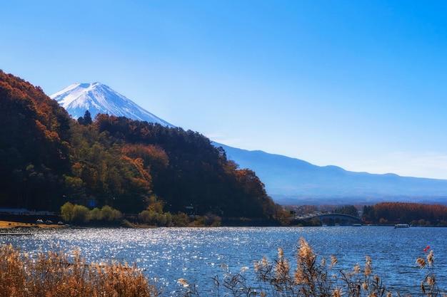Landscape of fuji mountain with beautiful autumn leaves.