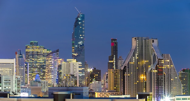 Landscape of the highest building in business zone in bangkok thailand