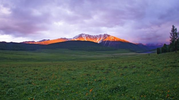 アルタイの風景の高さの夕日の山。フィールドの風景。