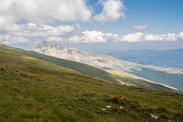 Paesaggio di colline ricoperte di vegetazione con montagne sotto un cielo nuvoloso