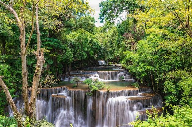 Landscape of huai mae khamin waterfall srinakarin national park at kanchanaburi thailand.huai mae khamin waterfall fourth floor