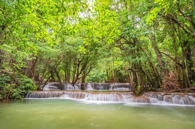 Landscape of huai mae khamin waterfall srinakarin national park at kanchanaburi thailand.huai mae khamin waterfall second floor