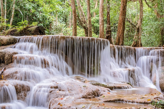 Landscape of huai mae khamin waterfall srinakarin national park at kanchanaburi thailand.huai mae khamin waterfall sixth floor