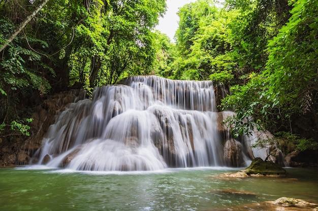 Landscape of huai mae khamin waterfall srinakarin national park at kanchanaburi thailand.huai mae khamin waterfall third floor