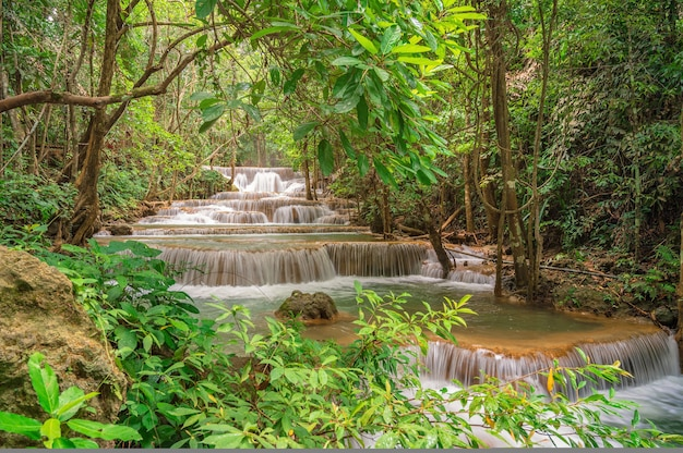 Landscape of huai mae khamin waterfall srinakarin national park at kanchanaburi thailand.