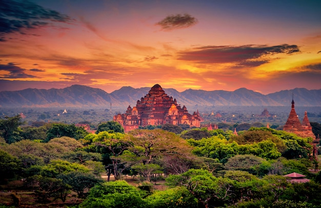 Landscape image of ancient pagoda at sunset in bagan, myanmar