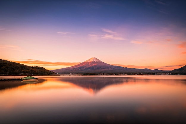 Landscape image of mt. fuji over lake kawaguchiko at sunrise in fujikawaguchiko, japan.