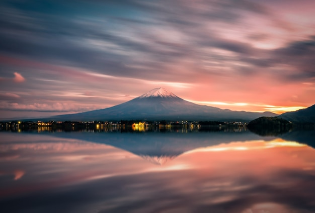 Landscape image of mt. fuji over lake kawaguchiko at sunset in fujikawaguchiko, japan.