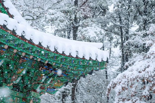 경복궁의 지붕과 서울, 한국에서 떨어지는 눈이있는 겨울 풍경