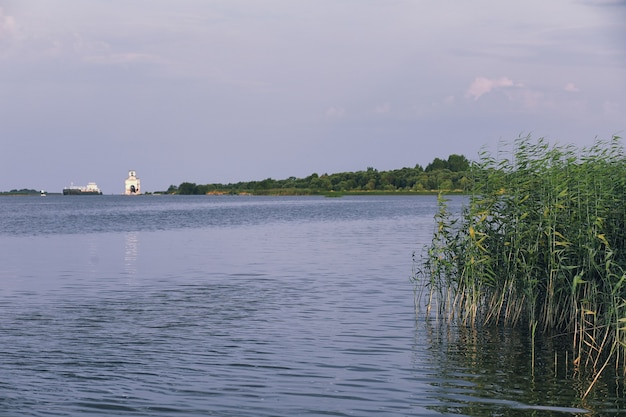 Landscape lake. texture of water. the lake is at dawn. the mouth of the river at the confluence of lake.