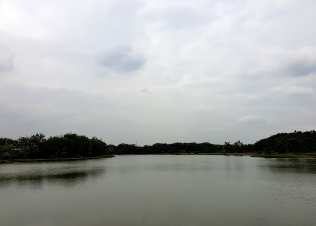 Landscape lake view in dim weather