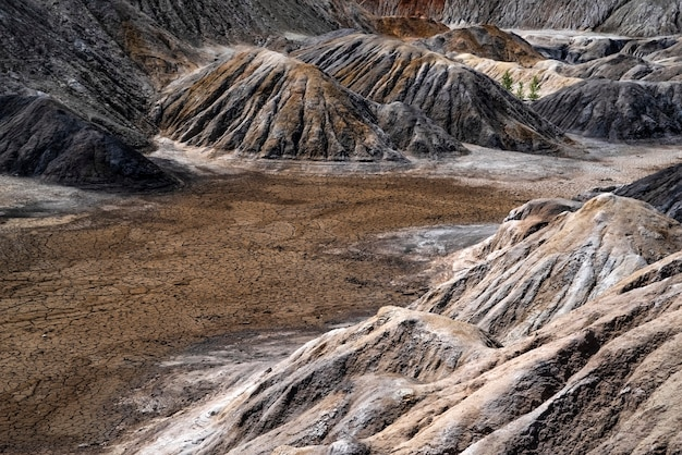 Landscape like a planet mars surface ural refractory clay quarries hardened redbrown surface earth