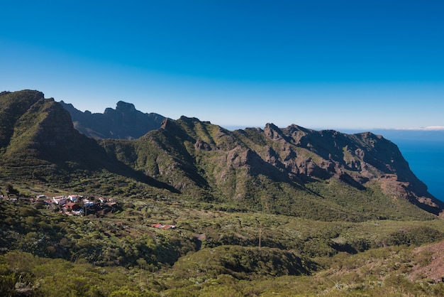 Landscape of masca canyon, famous touristic hikking point in tenerife, canary islands, spain.