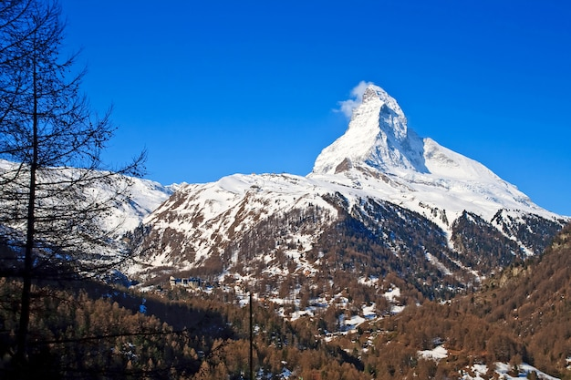Landscape of matterhorn peak from zermatt city, switzerland