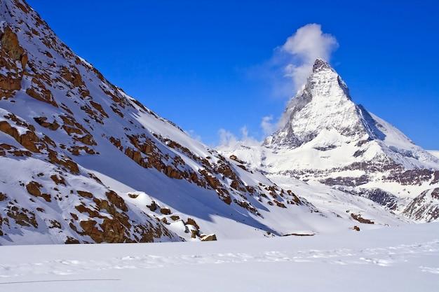 Landscape of  matterhorn peak region at zermatt city, switzerland