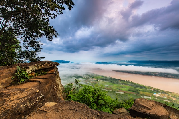 Landscape of mekong river in  border of thailand and laos.