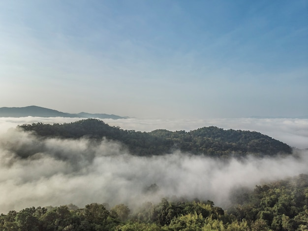 Landscape of morning mist with mountain layer at  north of thailand