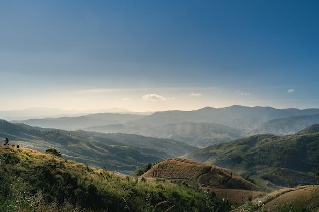 Landscape mountain and blue sky at doi chang chiang rai thailand
