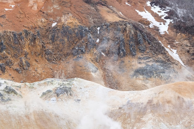 Landscape of mountain in the hot spring area with some steam