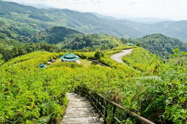 Landscape mountain range high angle view from viewpoint doi mae u ko at mae hong son province of thailand