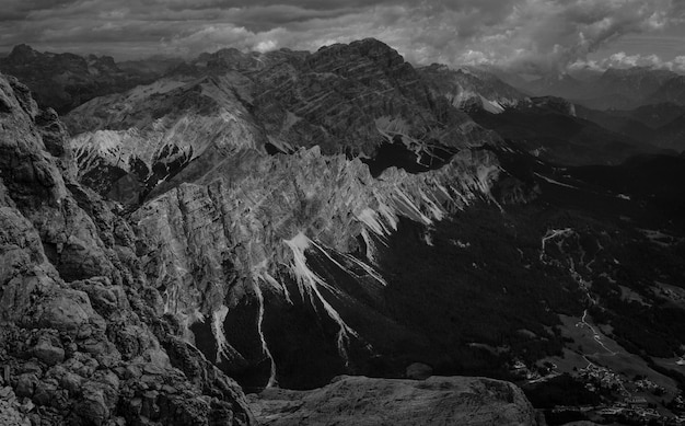 Landscape of mountains in black and white