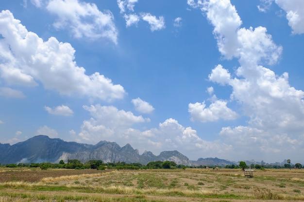 풍경-산, 푸른 하늘, 구름, 녹색 식물. 태국의 농업.