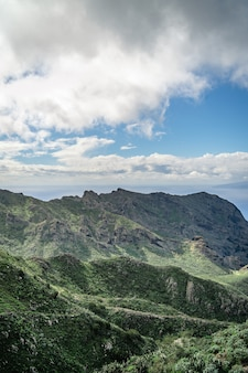 Landscape of mountains and clouds on tenerife island, canyon masca.