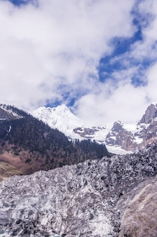 Landscape of mountains covered in snow