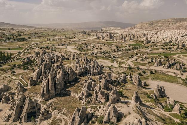Landscape of national park of cappadocia. aerial view