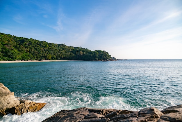 Landscape nature scenery view of beautiful tropical sea with mountains