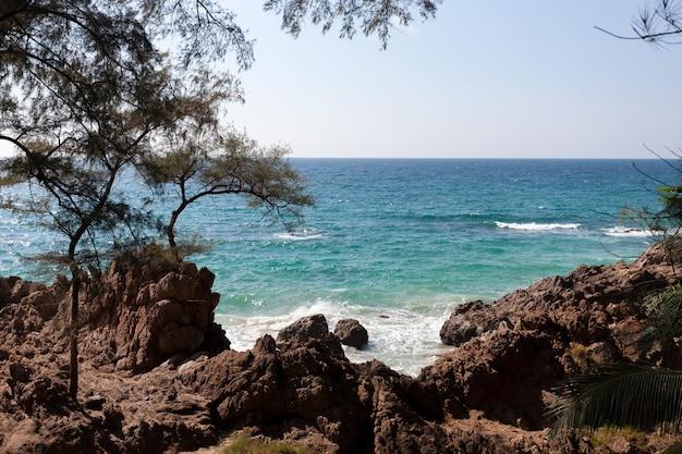 夏の海の海岸の景色と手前の岩に打ち寄せる波と美しい熱帯の海の自然の風景の風景を眺めます。