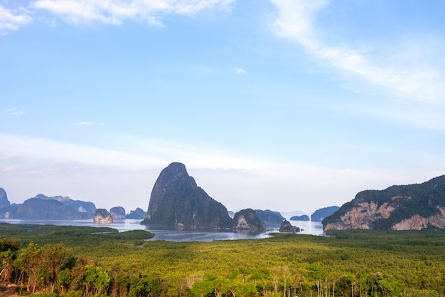 Landscape nature view of sametnangshe landscape view located in phang-nga thailand.