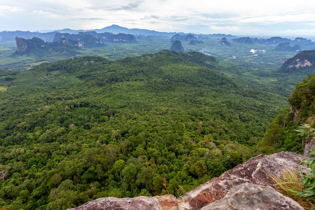 Landscape nature view, summer a view of mountains in thailand aerial view drone shot