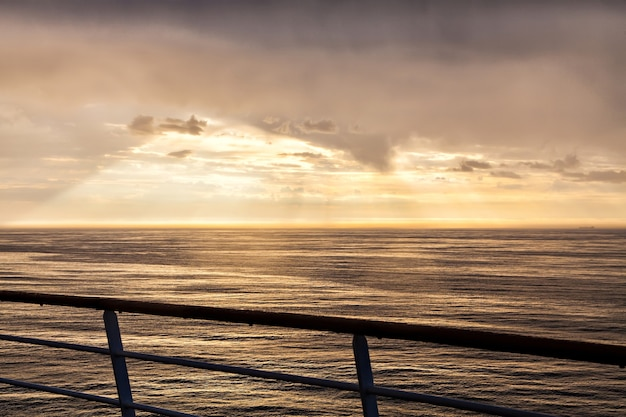 The landscape of the north sea in dusk from ship