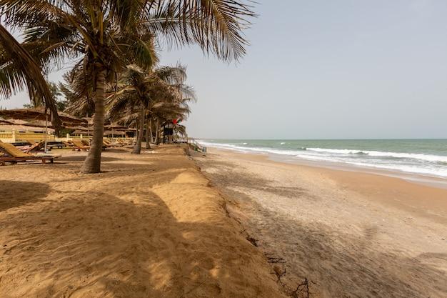 ガンビアの青空の下、ヤシの木と海に囲まれたビーチリゾートの風景