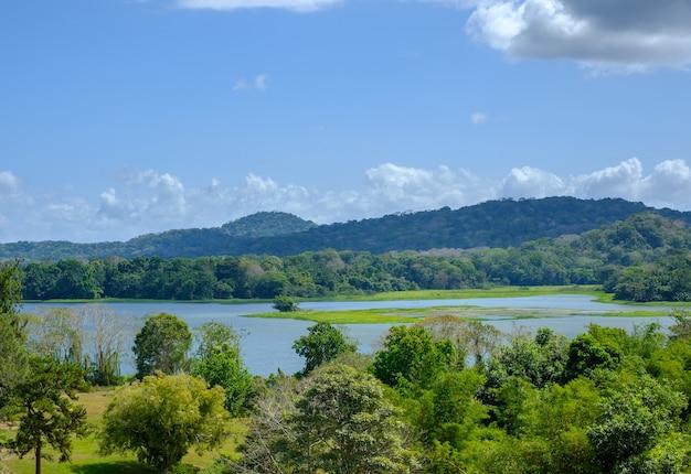 昼間の青空の下、緑に覆われた丘に囲まれた湖の風景