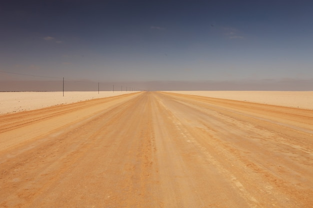 日光の下で日光の下で砂漠の道の風景