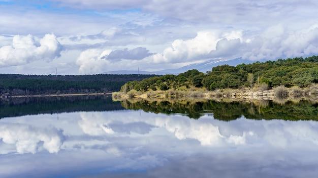 対称的なイメージを形成する水に反射する青い湖と緑の植物の風景。マドリッド。