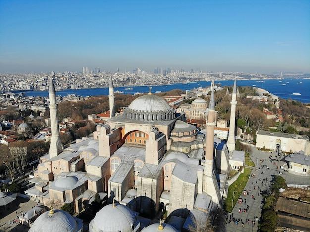 Пейзаж города стамбула в турции мечети айя софия