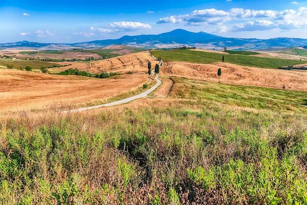 Пейзаж сухих полей в сельской местности в тоскане, италия. концепция сельского хозяйства и сельскохозяйственных угодий
