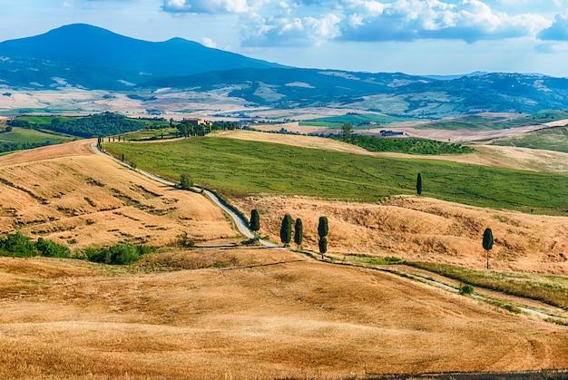 イタリア、トスカーナの田舎の乾燥した畑の風景