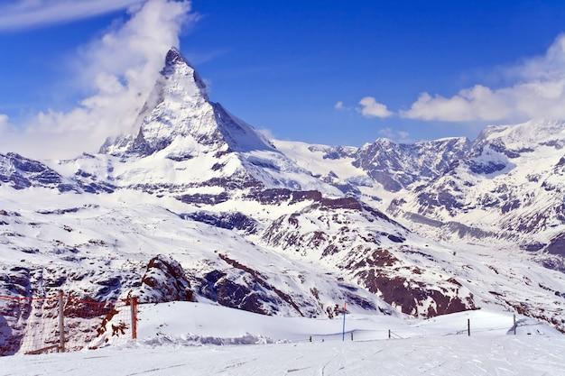 스위스의 gornergrat에 위치한 matterhorn 피크의 풍경