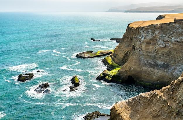 Пейзаж национального заповедника паракас на берегу тихого океана в перу
