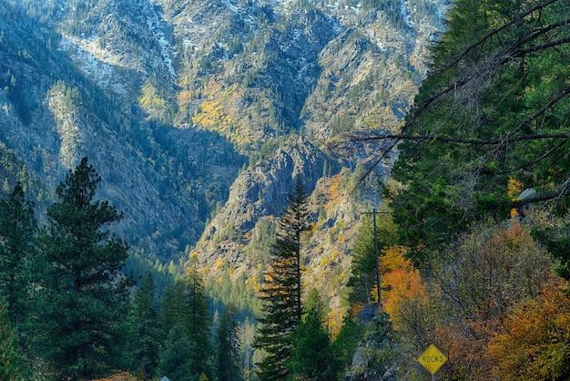 미국 동부 워싱턴의 햇빛 아래 녹지로 뒤덮인 바위 언덕의 풍경